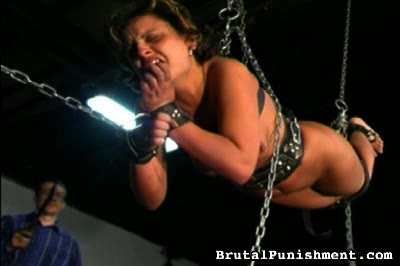 Strung chained hanging and whippedstill hanging strung up and chained like a prisoner although no prisoner was ever asked to assume this position missy must put up with vile torture.